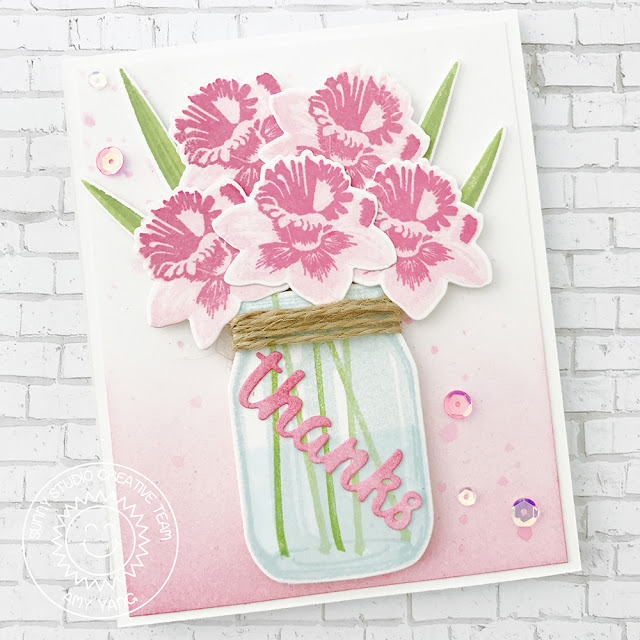 Sunny Studio Stamps: Daffodil Dreams and Vintage Jar Thank You Card by Amy Yang