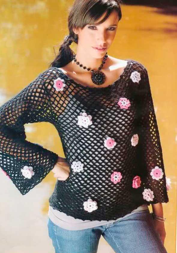 jersey calado flores, jersey ganchillo, patrones para crochet, blosgpot