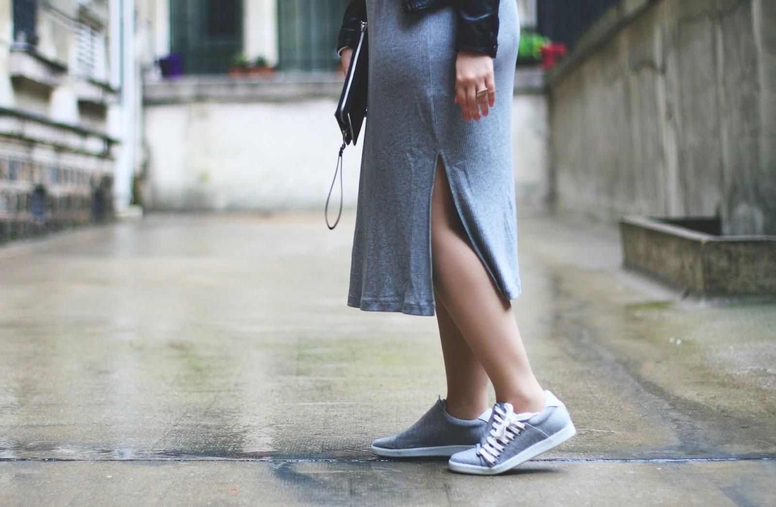 robe grise jersey côtelée fendue