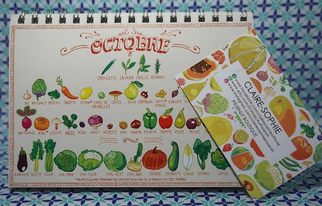 calendrier perpétuel, fruits et légumes, au pissenlit, etsy, bullelodie