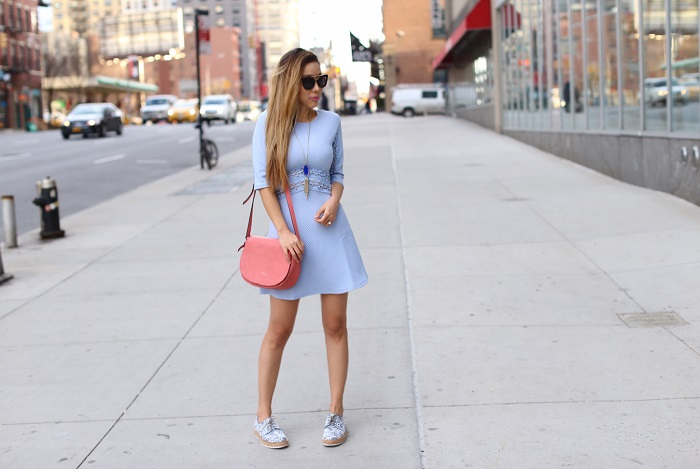 ASOS Skater Dress With Lace Insert, baby blue dress, pink crossbody bag, AGL flats, prada sunglasses, drop earrings, kendra scott necklace, spring outfit, color of the year, Rose quartz and serenity