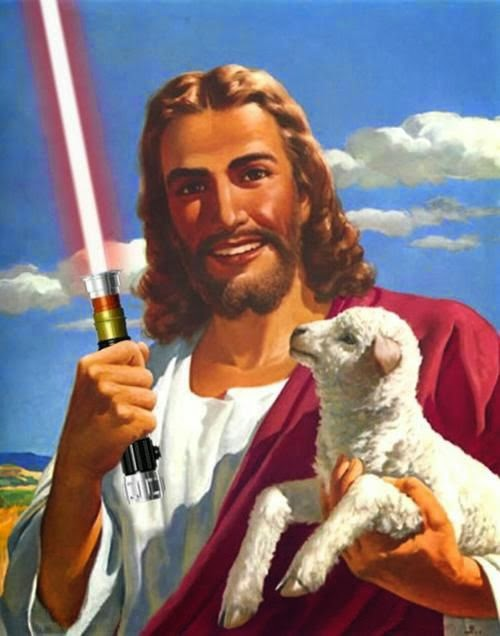 Funny Weird Jesus Collection - Protecting his lambs with a light saber picture