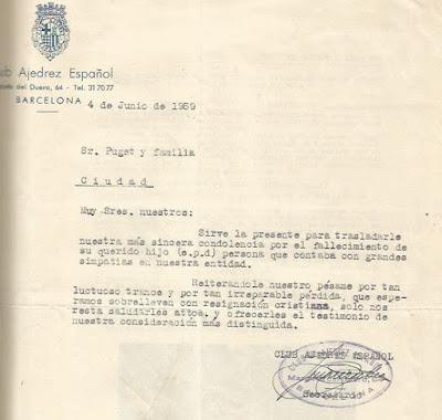 Carta de pésame del Club Ajedrez Español