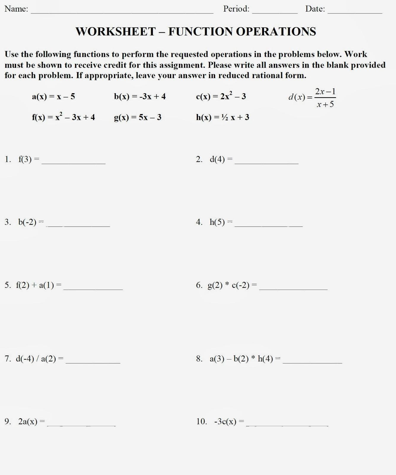Mr. Matt's Math Classes: Assignment - Function Operations ...