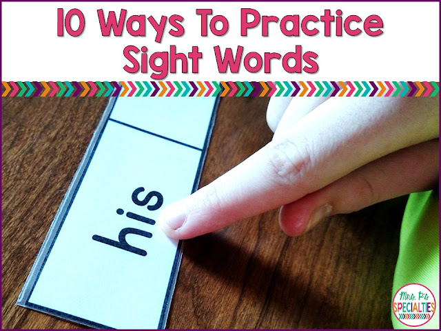 In special education classrooms, our students often need a lot more practice and repetition in order to master skills. We need to be creative in building in different ways to practice these skills so students don't get bored and learn to generalize their skills. Here are 10 ideas for practicing sight words with your students.