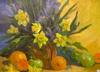 Oil painting, still life, flowers and fruit, by Aletha Deuel