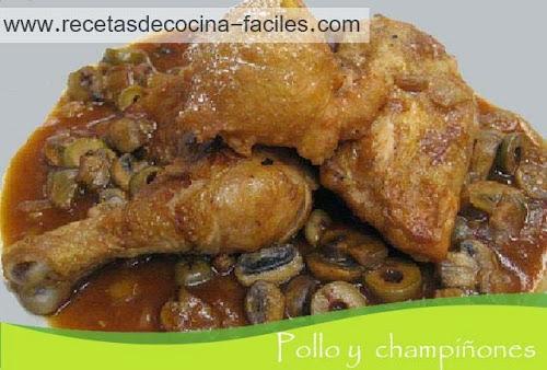 perniles de pollo en salsa de championes