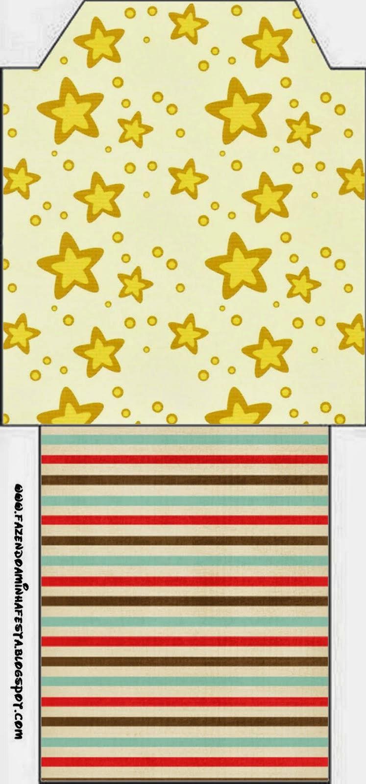 Bolsita de Té para Imprimir Gratis Estrellas Doradas y Rayas de Colores.