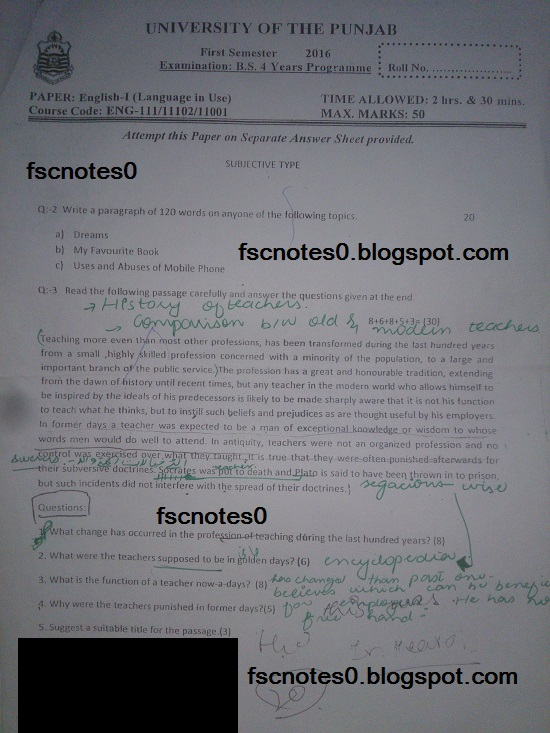 BS (Hons) Chemistry Past Papers Semester 1 English I (Language in Use) fscnotes0 Asad Hussain 4