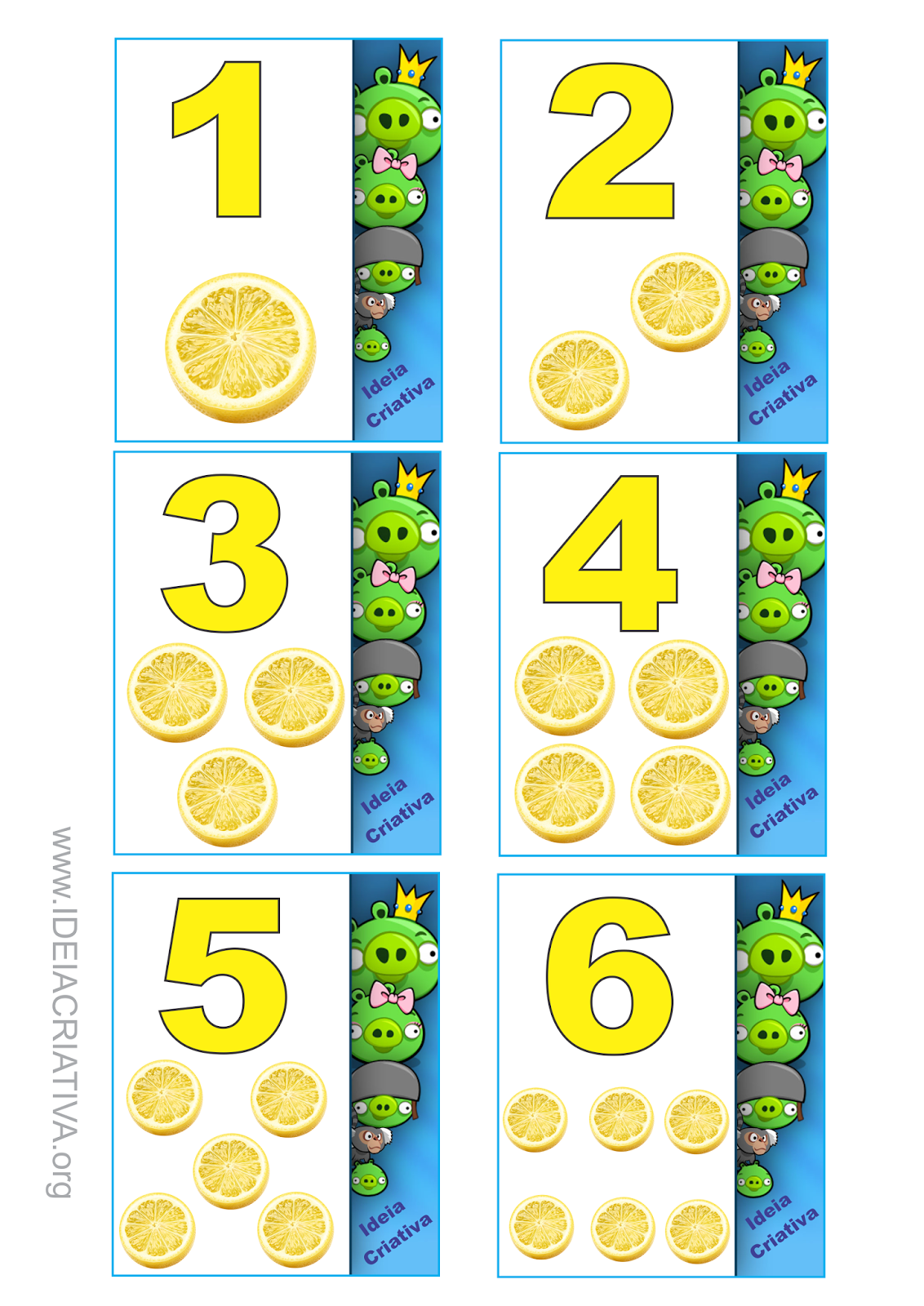 Atividades Educação Infantil Angry Birds Órgão dos Sentidos Paladar  Vogais e Flash Cards Numerais
