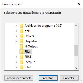 Ruta destino de los archivos a recuperar por Recuva