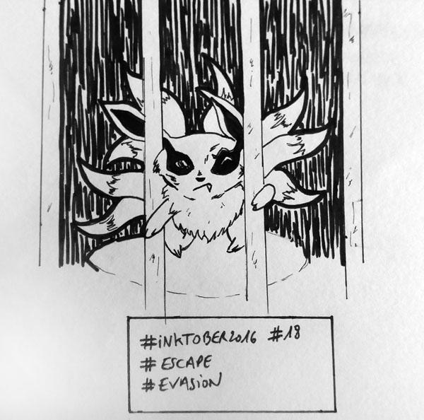 Inktober 2016 - Jour 18 - Evasion (Escape) - chibi Kyubi tente de s'évader