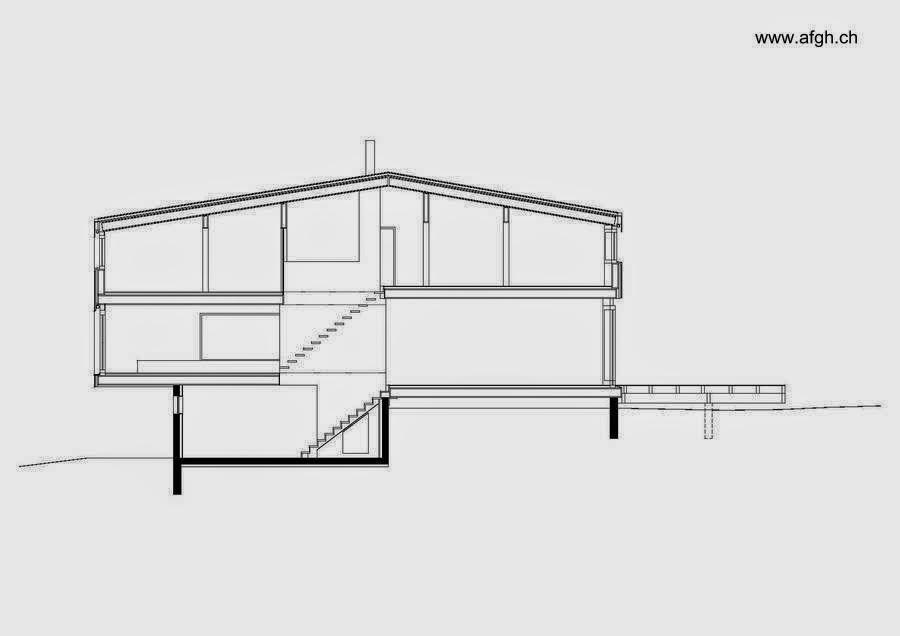 Plano arquitectónico de un corte longitudinal del chalet