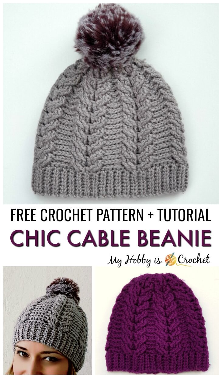 Chic Cable Beanie - Free Crochet Pattern