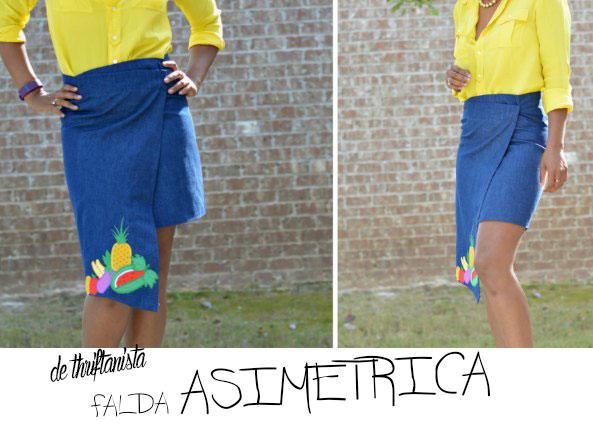 Convertir una falda vieja en una falda asimetrica paso a paso