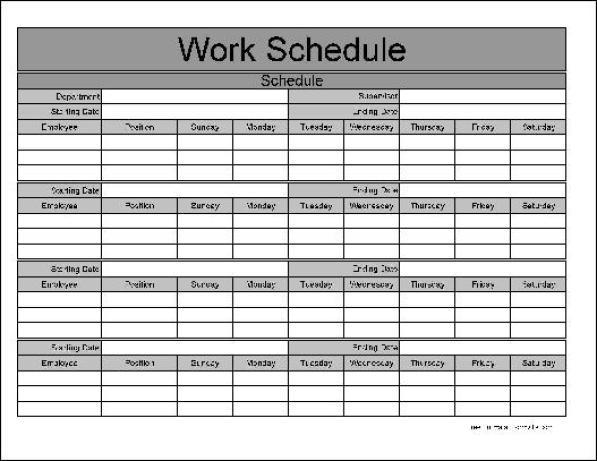 employee weekly work schedule
