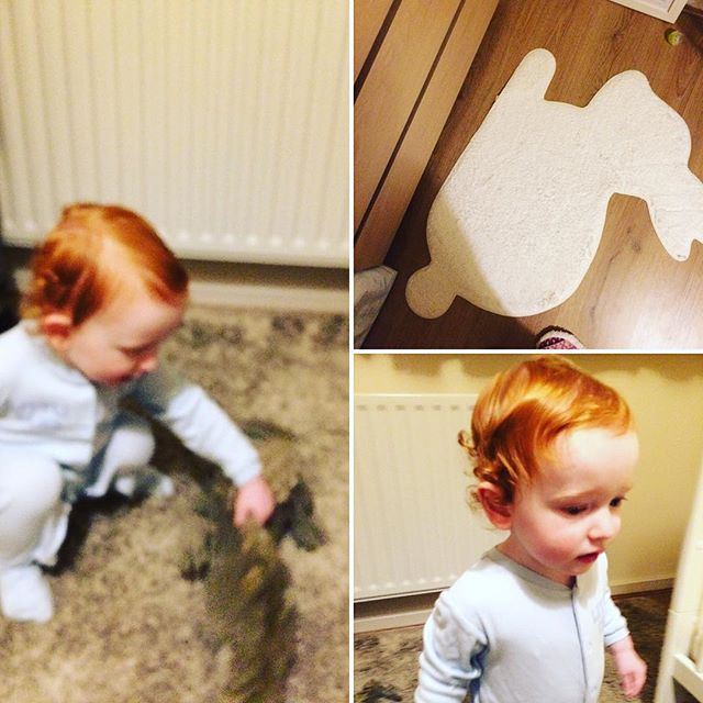 A group of 3 photos, including a redheaded child playing on a rug, a bunny rug and a ginger child playing