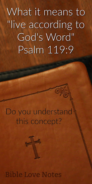 a 1-minute look at an important Biblical concept commanded in Psalm 119: Living according to God's Word. Do you know what it means? #BibleLoveNotes #Bible