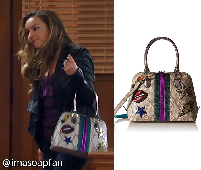 Kristina Davis, Lexi Ainsworth, Snake Print Handbag with Embellished Patches, ALDO, GH, General Hospital