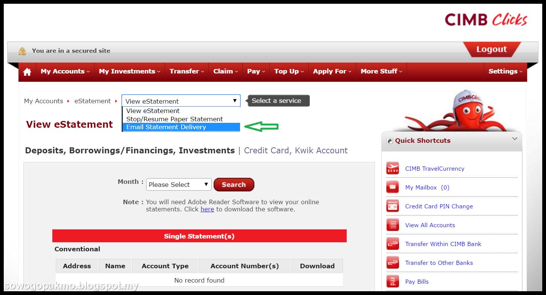 Nama Aku Jodin Cara Untuk Minta Cimb Bank Hantar Estatement Melalui Emel