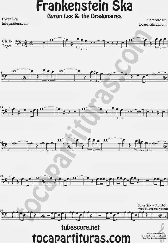 Frankenstein Ska Partitura de Violonchelo y Fagot  Sheet Music Cello and BassoonMusic Scores Byron Lee & The Dragonaires