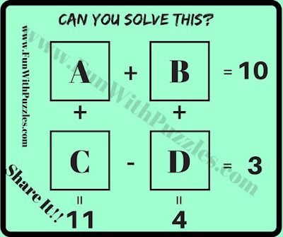Maths puzzle question for students
