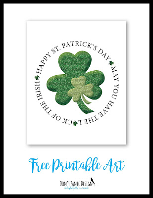 Shamrock poster, free printable art, st. patrick's day, st. paddy's day, glitter, green, luck of the irish