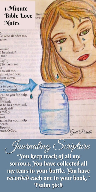 Journaling Scripture, drawing Psalm 56:8