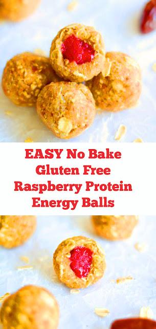 EASY No Bake Gluten Free Raspberry Protein Energy Balls #easynobake #nobake #breakfast #easybreakfast #energyballs #healthysnacks #raspberry #snacks #protein #glutenfree #vegan #sweettreat