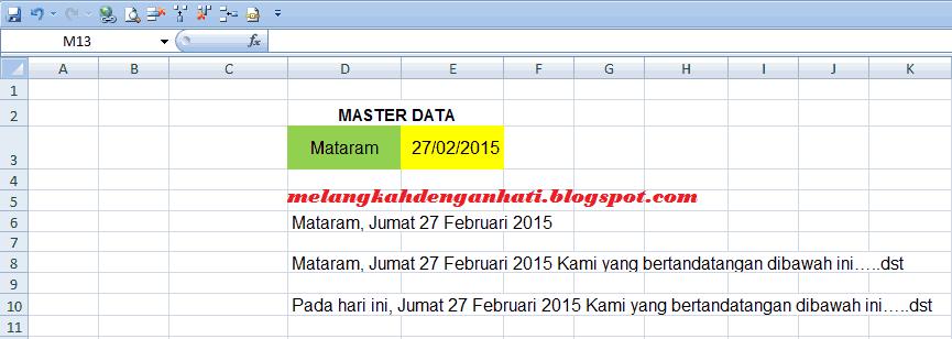Cara membuat format tanggal menjadi teks di excel