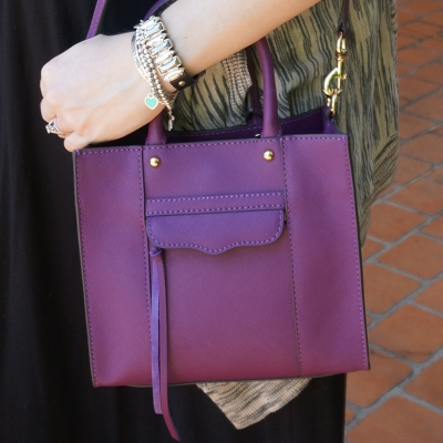 AwayFromTheBlue | Rebecca Minkoff mini MAB tote bag cross body in plum black dress printed cardi