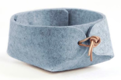 light blue small felt basket with leather ties