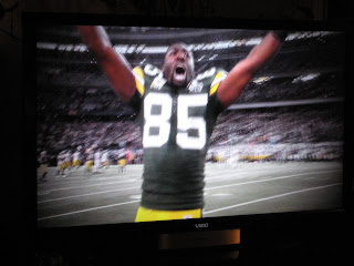 Greg Jennings celebrates Packers win!  He was on my Fantasy Team the last two years.