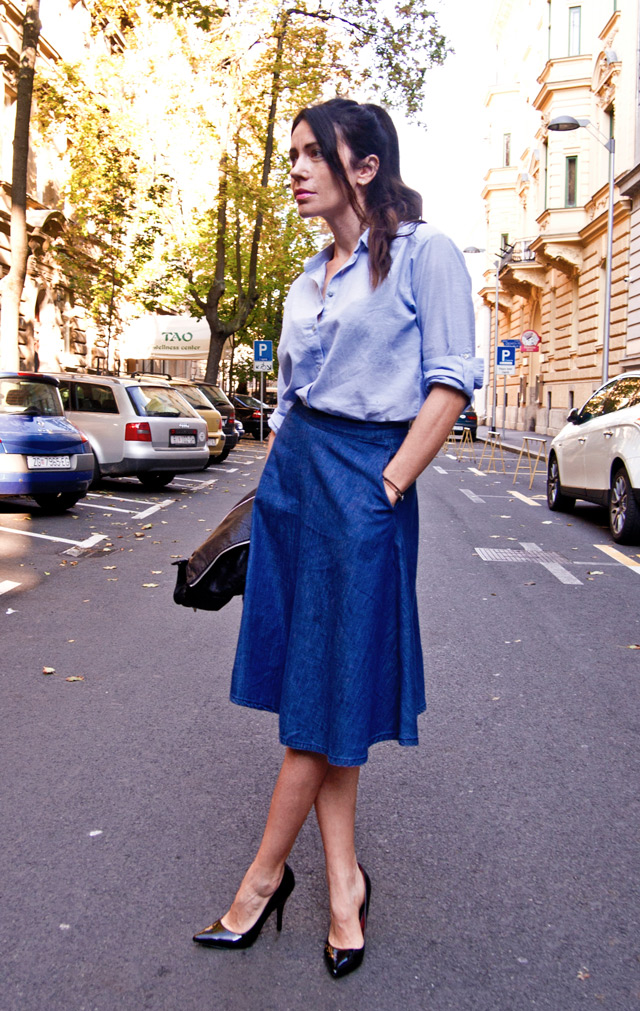 DENIM CUTENESS IN A CIRCLE SKIRT – Fashion Trends and Street Style ...