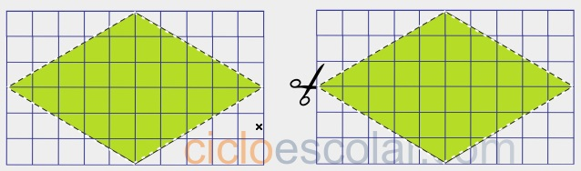 Como calcular el área de un rombo figura 1