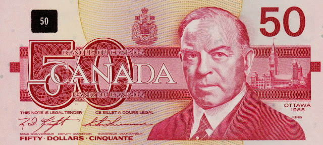Canadian Banknotes 50 Dollars banknote 1988 William Lyon Mackenzie King