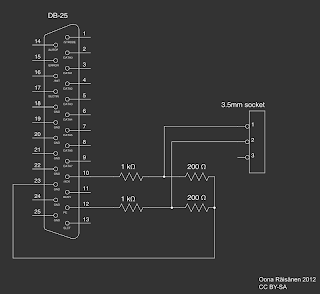 [Image: Schematic diagram of the cable and connector setup with a voltage divider. Pins 10 and 12 of a DB-25 are connected to arbitraty points A and B, respectively, via 1 k-ohm resistors. Point A and B are both connected to point C via 200 ohm resistors each. Point C is connected to pin 23 of the DB-25. Points A and B are connected to terminals 1 and 2 of a 3.5mm socket, respectively.]
