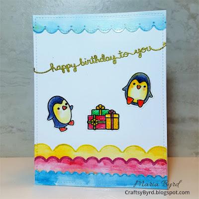 Lawn Fawn Penguin Birthday Card by Maria Byrd - CraftsyByrd - updated082017