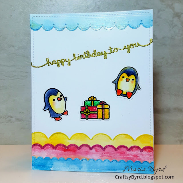 Lawn Fawn Penguin Birthday Card by Maria Byrd - CraftsyByrd - updated082017