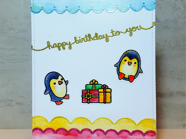 Lawn Fawn: Penguin Birthday Card