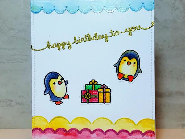 Lawn Fawn Penguin Birthday Card