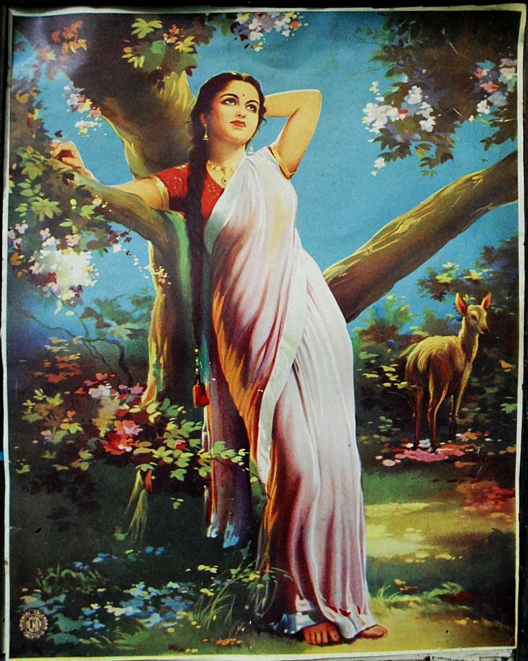 Lady in a Garden - Vintage Indian Print
