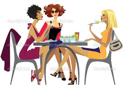 Mujer bromear hombres algunos sentarse en otra mesa