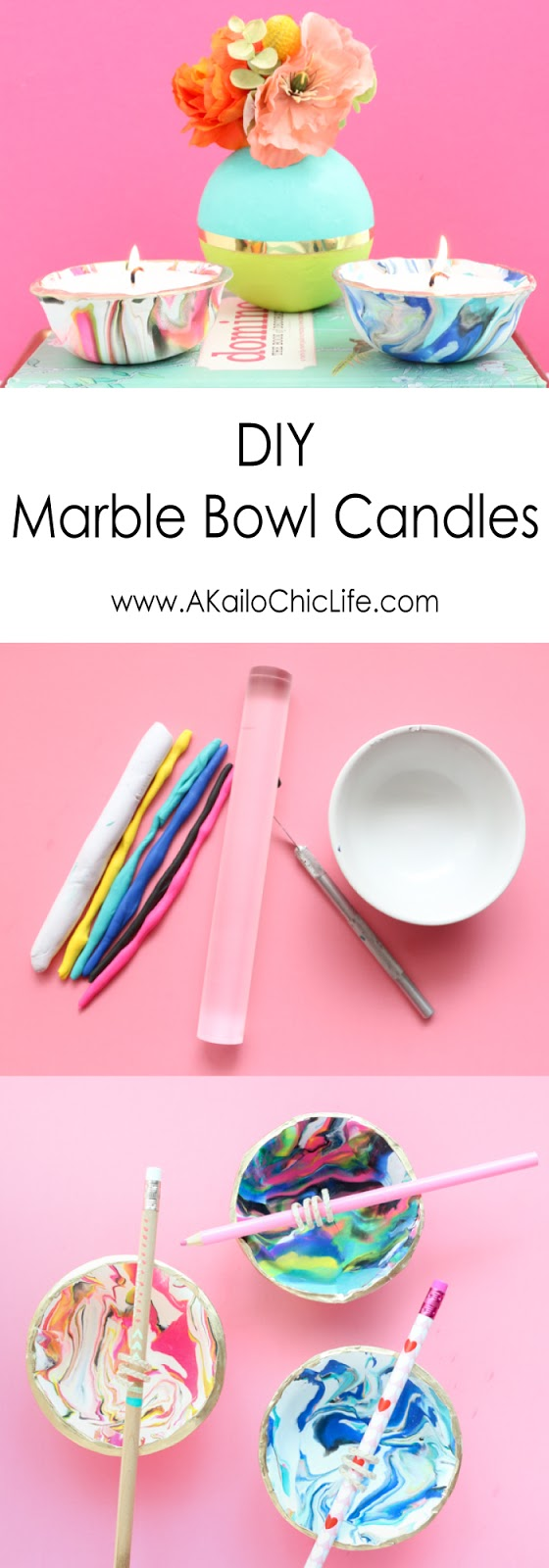 Learn how to make your own marble clay bowls and turn them into the cutest candles perfect for DIY gifts and other handmade gift ideas