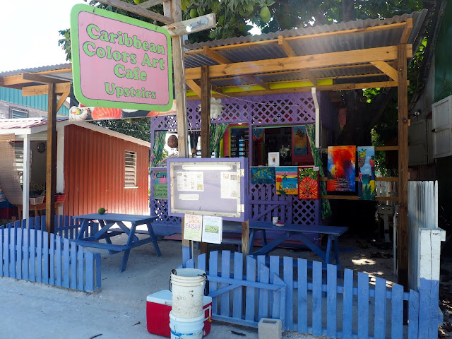Colourful cafe building on Caye Caulker, Belize