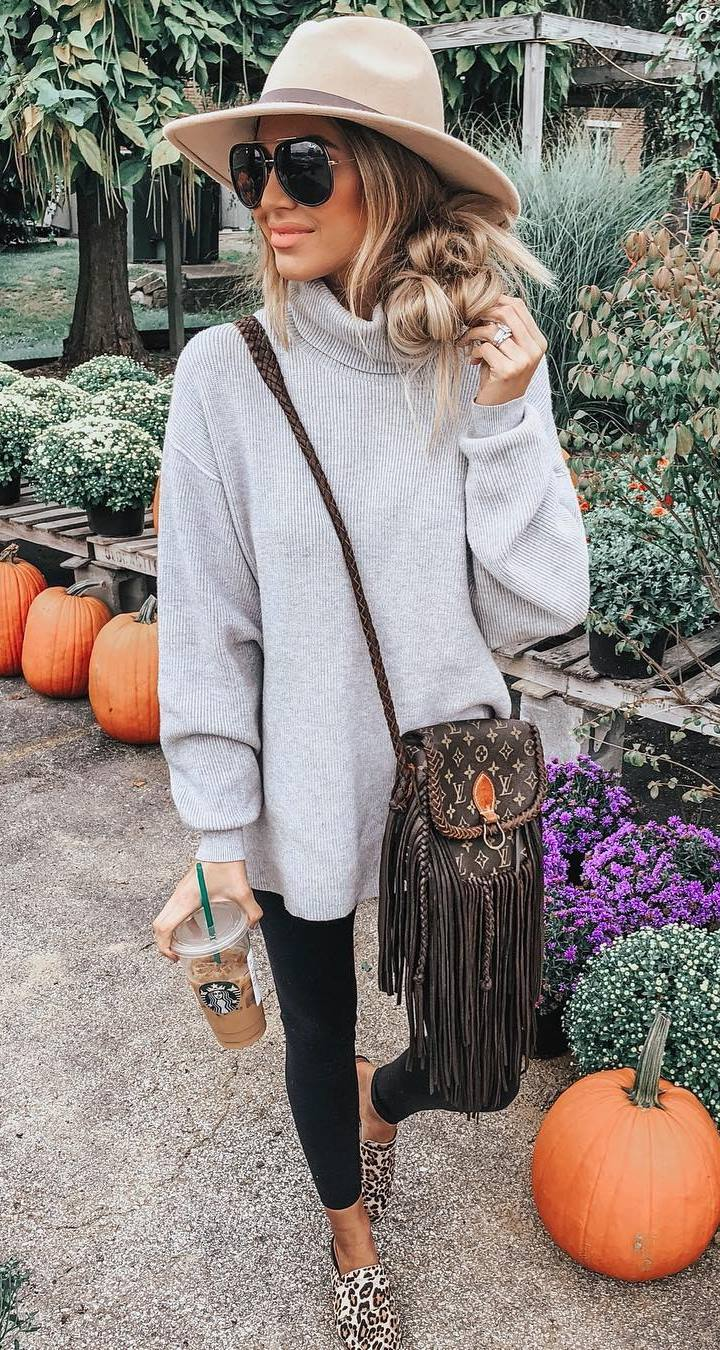 outfit of the day | hat + brown crossbody bag + leopard loafers + sweater dress leggings