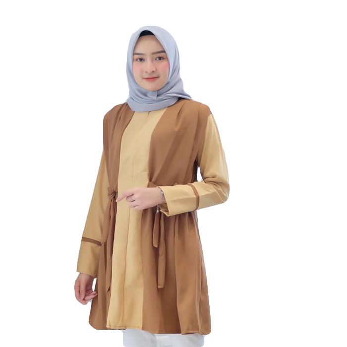 Dress Tunik Atasan Wanita Minimalis - Kuning-Moca