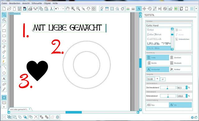Screenshot mit Schriftzug, Kreisen und Herz
