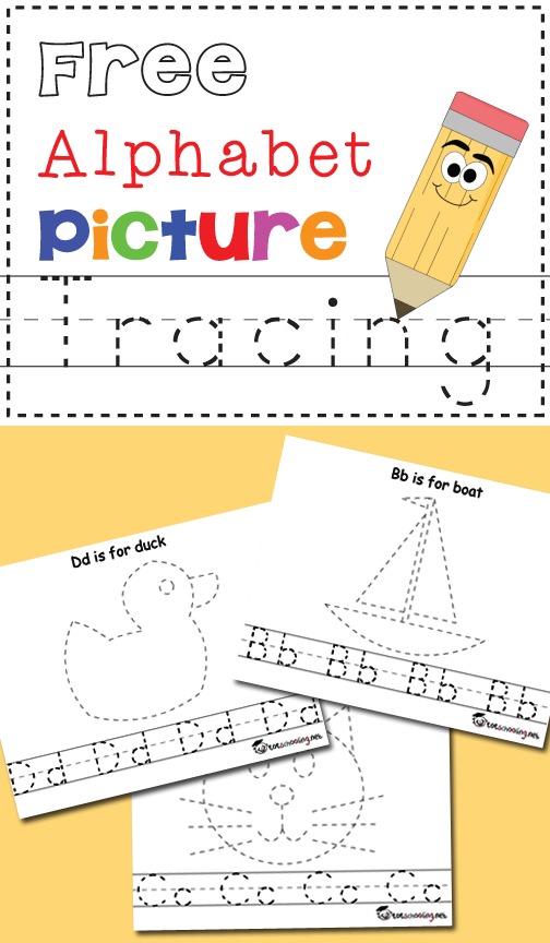 FREE printable Alphabet tracing worksheets with pictures and letters. Practice writing and drawing skills at the same time!