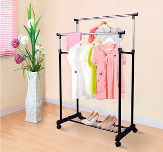 special Deals, good quality  Multifunctional Rack : Double Clothes Coat Rail Adjustable Garment Dress Hanging Stand Shoe Rack Wheels  £11.99